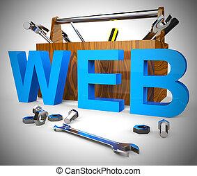 ícone, -, conectado, meios, conceito, 3d, ilustração, mundo, teia, largo
