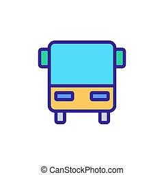 ícone, contorno, ilustração, símbolo, autocarro, isolado, vector.