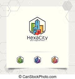 ícone, contratante, residência, logotipo, construção, edifício., vetorial, propriedade, scape., conceito, propriedade, real, apartamento, desenho, cidade