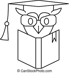 ícone, coruja, estilo, livro, esboço