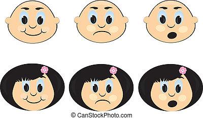 ícone, crianças, emotions.