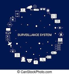ícone, criativo, fundo, vigilância