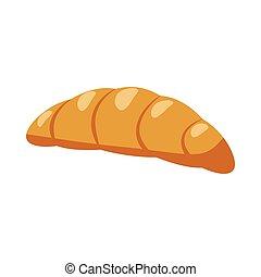 ícone, croissant, estilo, caricatura
