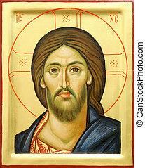 ícone, de, senhor, jesus cristo