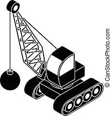 ícone, demolir, estilo, caminhão, simples