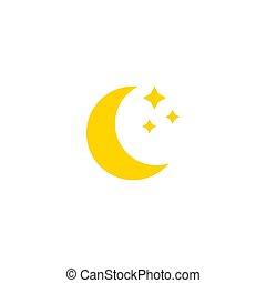 ícone, design., lua, simples, vetorial, illustration., apartamento