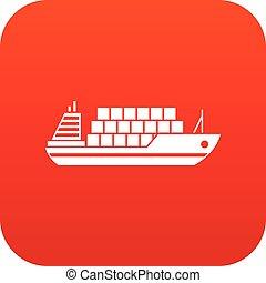 ícone, digital, vermelho