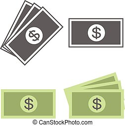 ícone, dinheiro, vetorial, conta dólar