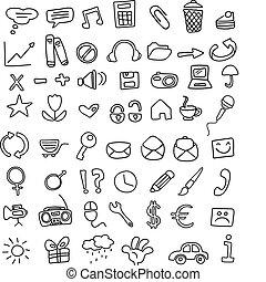ícone, doodles