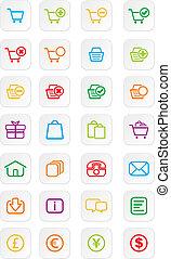 ícone, ecommerce, coloridos, conjuntos