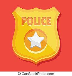 ícone, emblema, polícia, vetorial