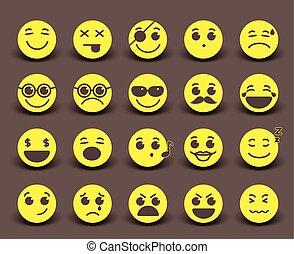 ícone, emoticons, smileys, amarela, caras