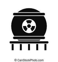 ícone, energia nuclear, estilo, simples