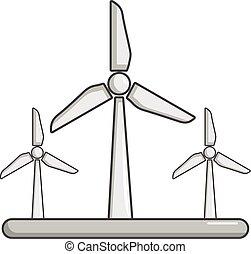 ícone, eolic, turbina, estilo, caricatura