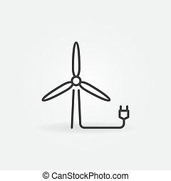 ícone, esboço, vento, vetorial, plugue, conceito, turbina