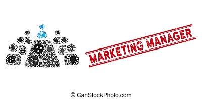ícone, escritório, mosaico, gerente, linhas, selo, textured, reunião, marketing, gripe