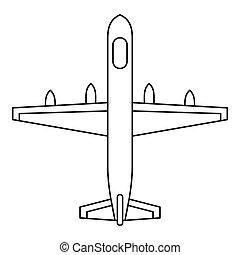 ícone, estilo, avião, esboço