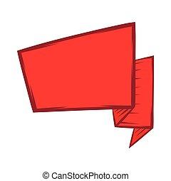 ícone, estilo, bandeira, caricatura, vermelho