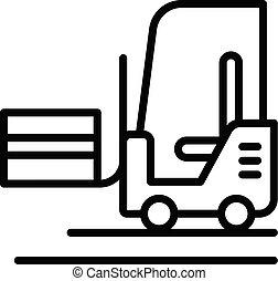 ícone, estilo, caminhão forklift, esboço