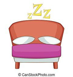 ícone, estilo, caricatura, cama