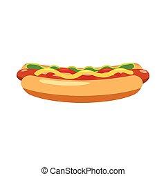 ícone, estilo, caricatura, hotdog