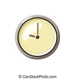 ícone, estilo, caricatura, relógio