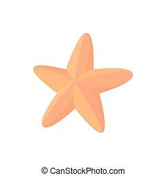 ícone, estilo, caricatura, starfish
