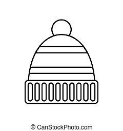 ícone, estilo, chapéu, esboço