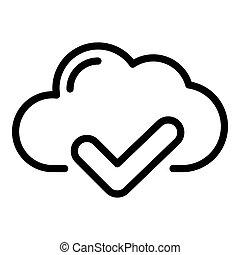 ícone, estilo, cheque, nuvem, esboço