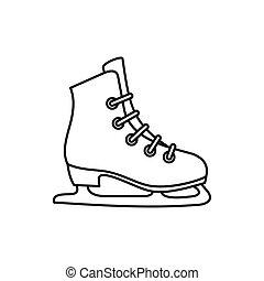 ícone, estilo, esboço, patins