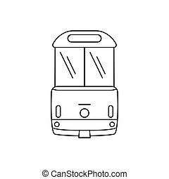 ícone, estilo, esboço, tramway