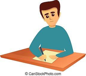 ícone, estilo, escrita, exame, menino, caricatura, teste
