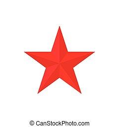 ícone, estilo, estrela, caricatura, vermelho