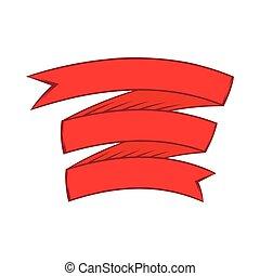 ícone, estilo, fita vermelha, caricatura