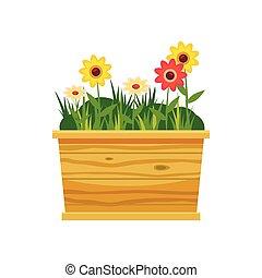 ícone, estilo, flor, caricatura, cama
