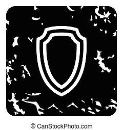 ícone, estilo, grunge, escudo, mão