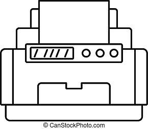 ícone, estilo, impressora, laser, esboço