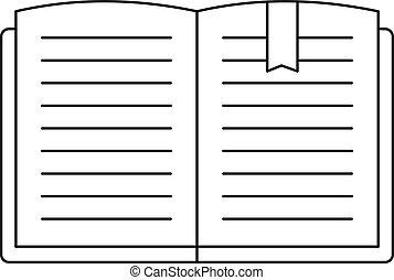 ícone, estilo, livro, abertos, esboço