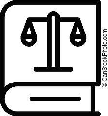 ícone, estilo, livro lei, esboço