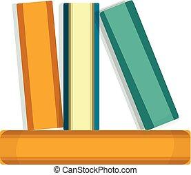 ícone, estilo, livros, caricatura, pilha