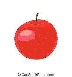 ícone, estilo, maçã, vermelho, caricatura