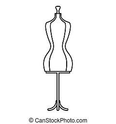 ícone, estilo, mannequin, esboço