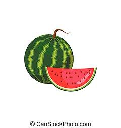 ícone, estilo, melancia, caricatura