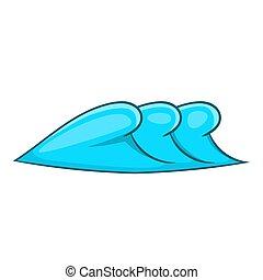 ícone, estilo, ondas, caricatura, três
