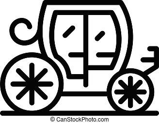 ícone, estilo, real, esboço, carruagem