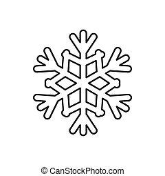 ícone, estilo, snowflake, esboço