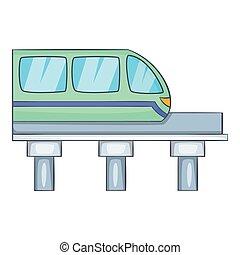 ícone, estilo, trem, caricatura