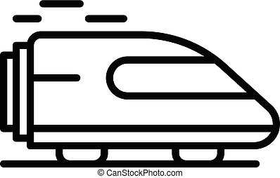 ícone, estilo, trem, esboço, rapidamente
