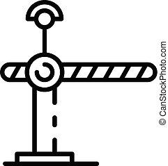 ícone, estrada ferro, estilo, barreira, esboço