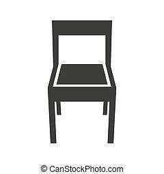 ícone, experiência., cadeira, branca